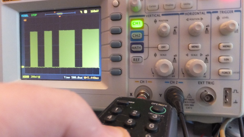 Silver Bullet - displaying marks and spaces of IR signal on oscilloscope (1Volt peak, 200mV/500uSecs per division)