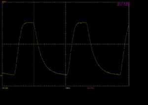Oscilloscope capture of 40kHz modulation using Poor maker's IR receiver