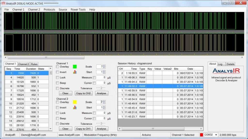 Chigo Air Conditioner Infrared Signals AnalysIR Screenshot
