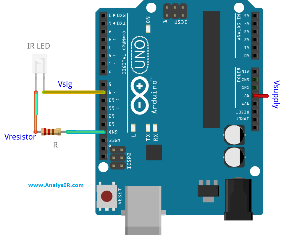 AVR IR LEd current voltage circuit, using Arduino UNO