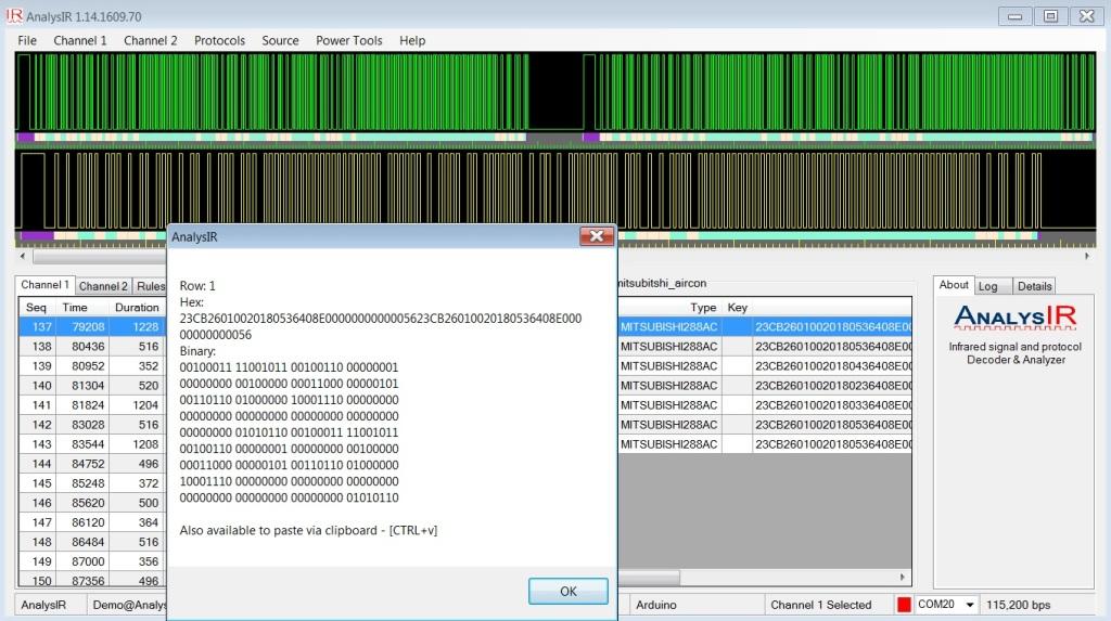 Mitsubishi AC AnalysIR Screenshot