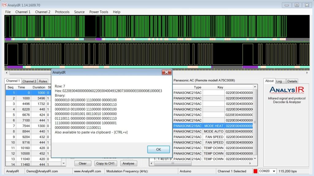 AnalysIR - Panasonic AC 216 bit Infrared signal
