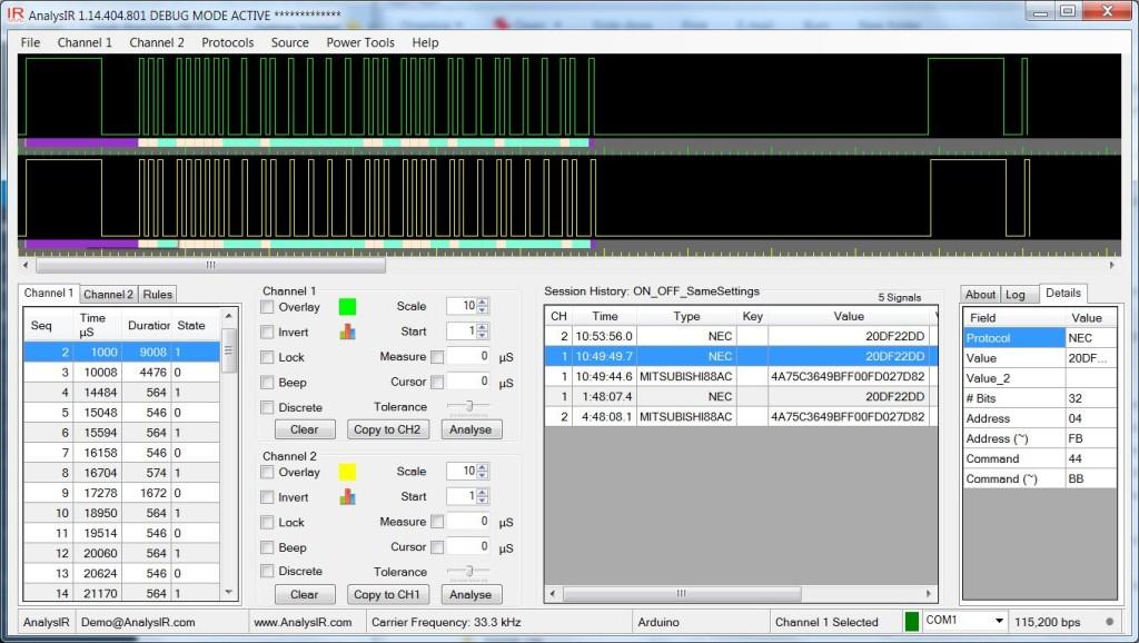 Original and re-transmitted NEC 32-bit signals