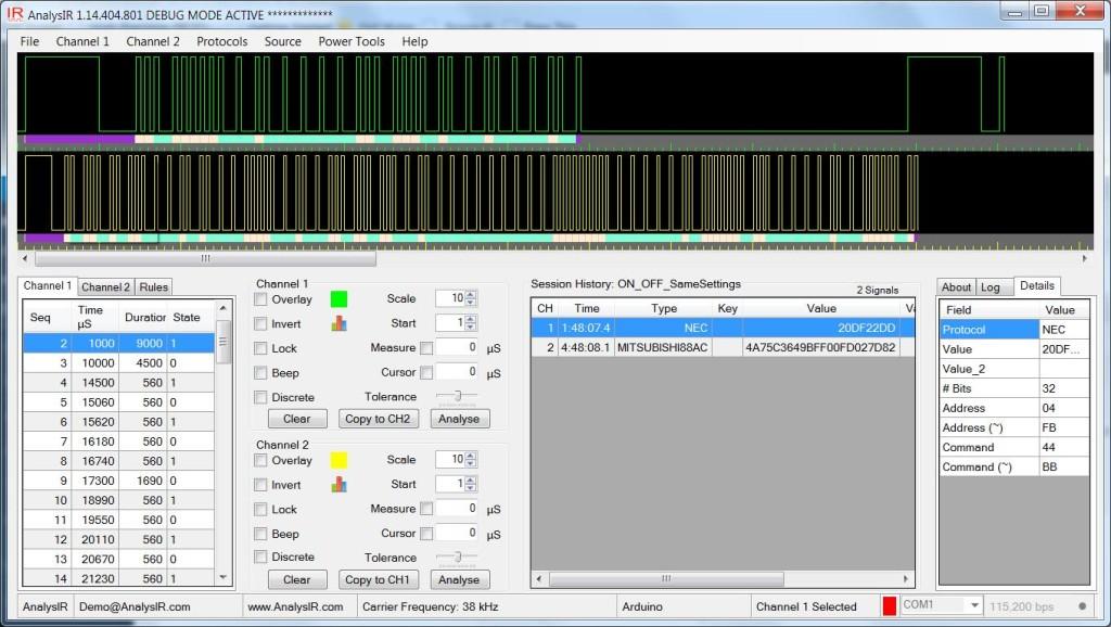 Original NEC 32-bit and Mitsubishi 88-bit Signals displayed using AnalysIR