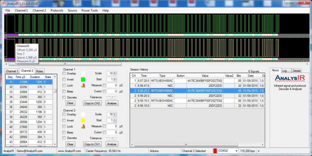 Mitsubishi88AC signal captured in AnalysIR using soft PWM, RAW signal above HEX signal below