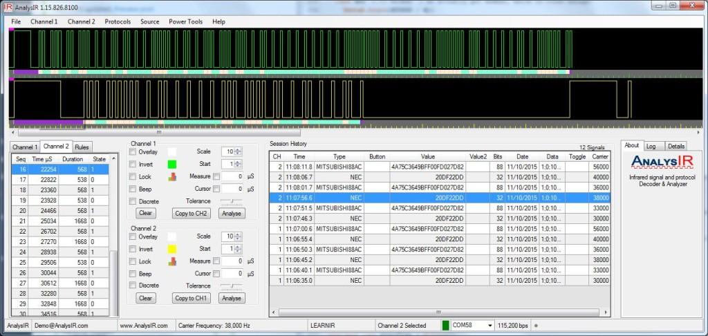 Arduino uPWM AnalysIR Screenshot
