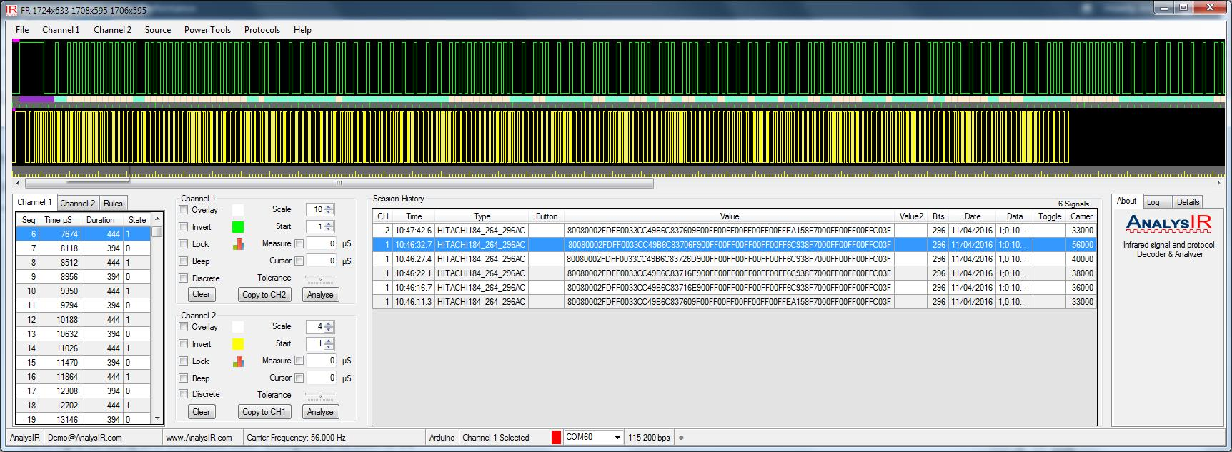 AnalysIR screen-shot showing the signals captured from the sendRAW_Flash sketch
