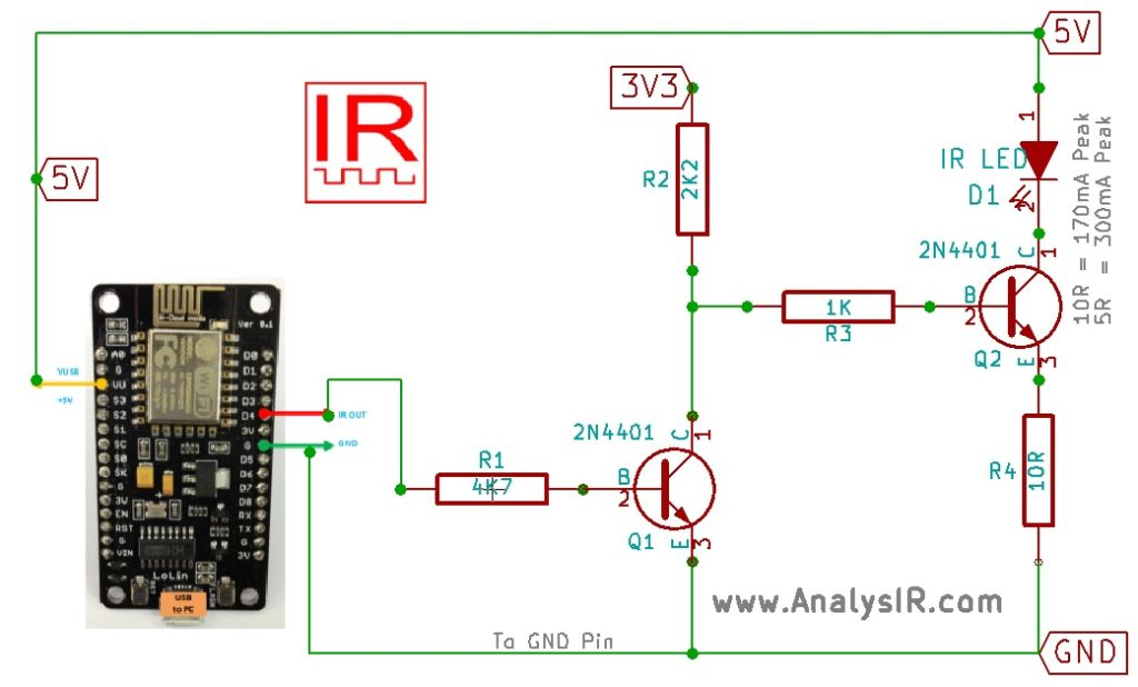 ESP8266 NodeMCU uPWM Inverted IR Circuit