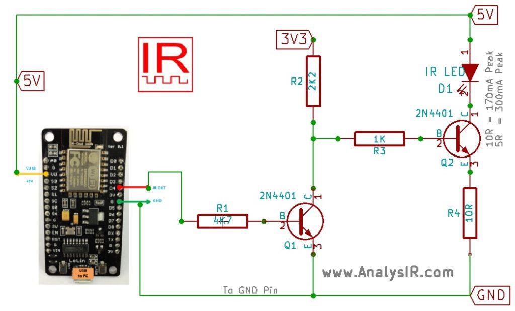 ESP8266 NodeMCU uPWM Inverted IR Circuit