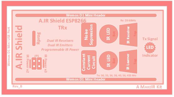 A.IR Shield block diagram ESP8266 TRx