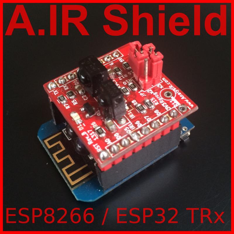 A IR Shield ESP8266/ESP32 TRx, advanced infrared module